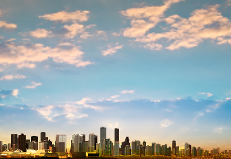 vancouver: abstract background with panorama of city and clouds vector illustration Illustration