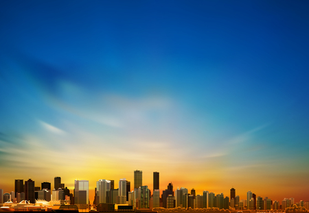 vancouver city: abstract blue background with panorama of city vector illustration Illustration