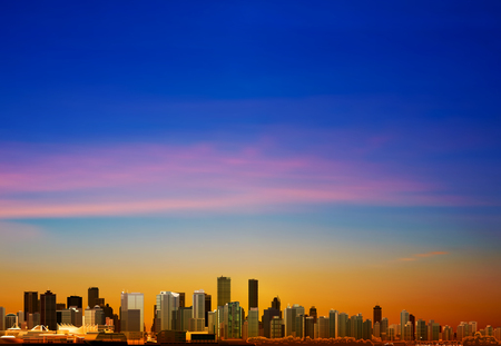 vancouver city: abstract sunrise background with panorama of city vector illustration