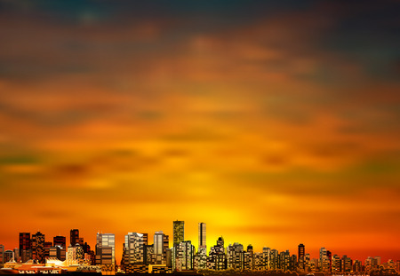 horizon reflection: abstract brown sunset background with panorama of city vector illustration