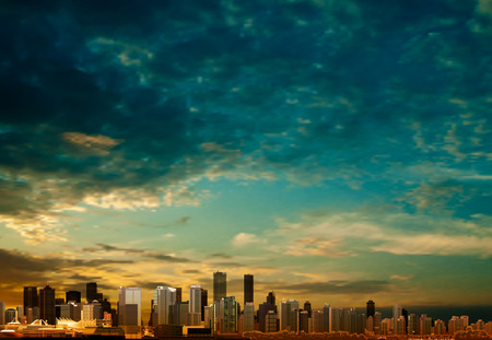 vancouver city: abstract clouds background with panorama of city vector illustration
