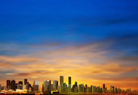 vancouver city: abstract blue sunrise background with panorama of city vector illustration Illustration