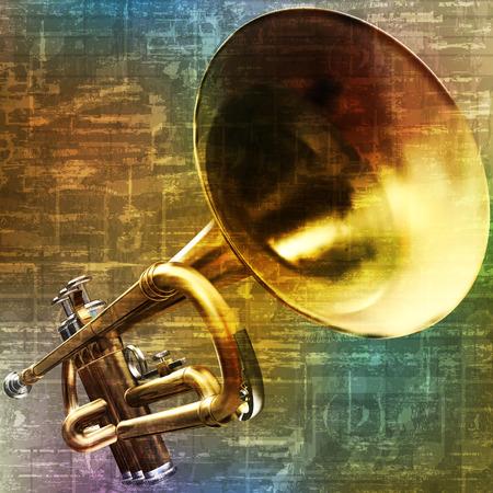 brass: abstract green music grunge background trumpet vector illustration Illustration
