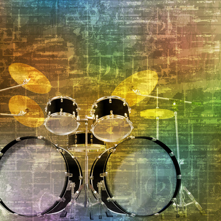 drum kit: abstract green music grunge background drum kit vector illustration
