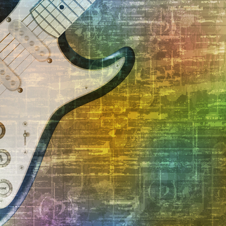 troubadour: abstract green music grunge background electric guitar vector illustration