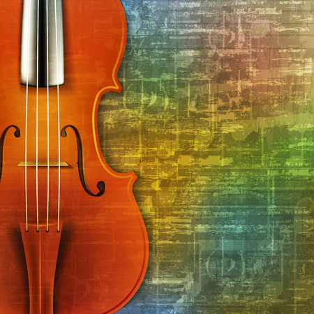 abstract green music grunge background with violin vector illustration Illustration