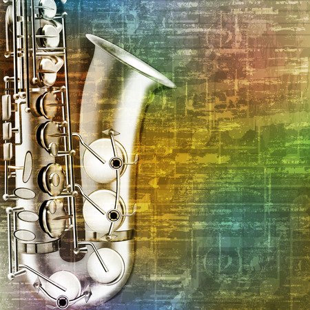 blare: abstract green music grunge background with saxophone vector illustration