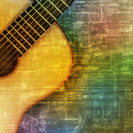 abstract green music grunge background with acoustic guitar vector illustration