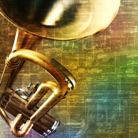 troubadour: abstract green music grunge background with trumpet vector illustration