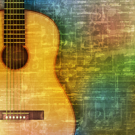 loudly: abstract green music grunge background acoustic guitar vector illustration