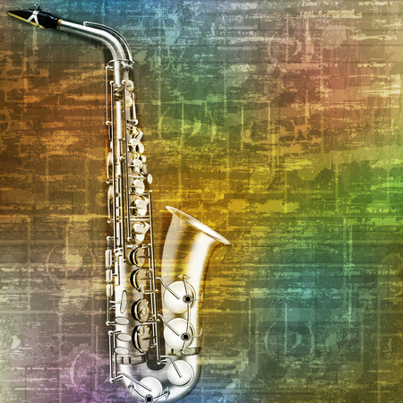 classical theater: abstract green music grunge background saxophone vector illustration Illustration