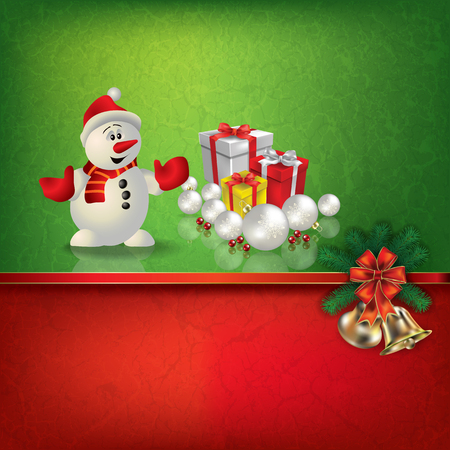 christmas gifts: Abstract grunge red green background with snowman and Christmas gifts