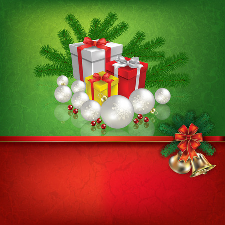 holiday gifts: Abstract grunge red green background with hand bells and Christmas gifts