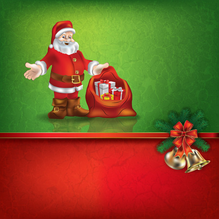 hand bells: Abstract grunge red green background with hand bells and Santa Claus