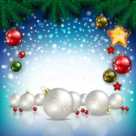christmas decorations: Abstract Christmas blue greeting with white decorations Illustration