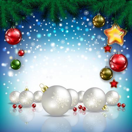 motivos navideños: Azul felicitación de Navidad abstracto con decoraciones blancas Vectores