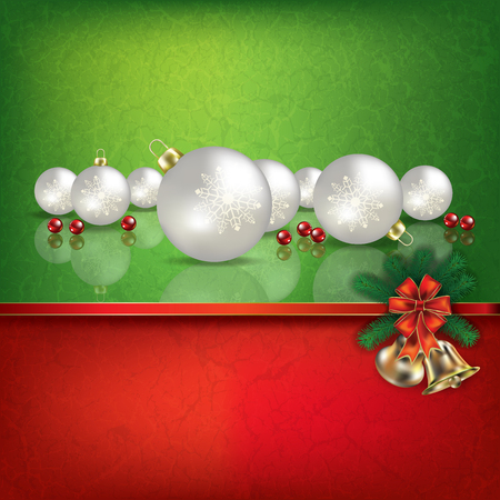 hand bells: Abstract grunge red green background with hand bells and white Christmas decorations