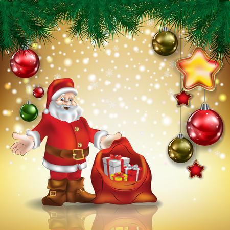 christmas gifts: Abstract Christmas golden greeting with Santa Claus and decorations