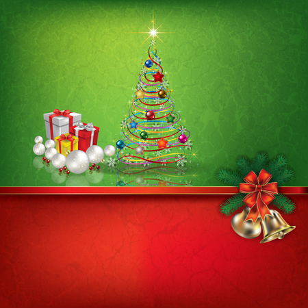 grunge tree: Abstract grunge red green background with hand bells gifts and Christmas tree