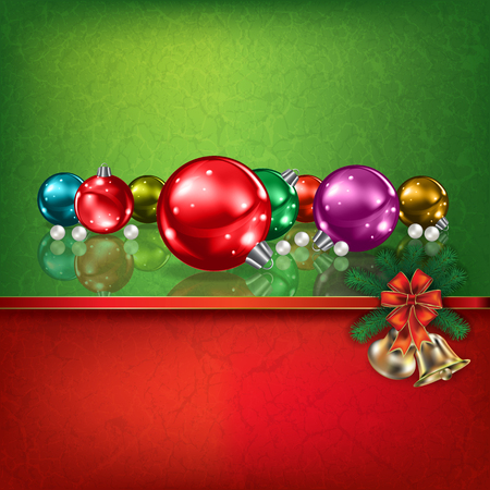 christmas decorations: Abstract grunge red green background with hand bells and Christmas decorations
