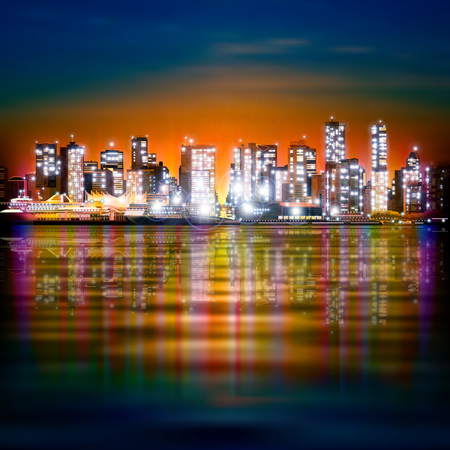 horizon reflection: abstract yellow blue background with panorama of illuminated city by night Illustration