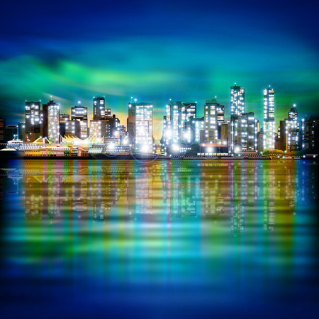 horizon reflection: abstract green blue sky background with panorama of illuminated city by night Illustration