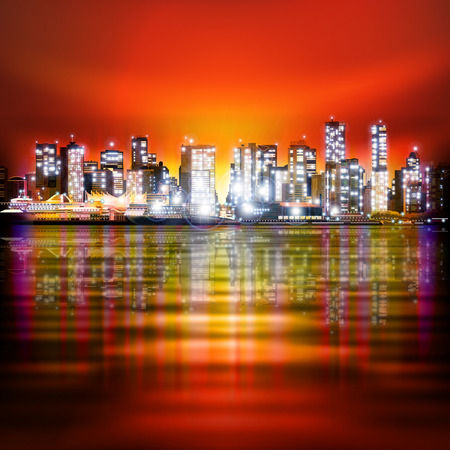 red sky: abstract red sky background with panorama of illuminated city by night Illustration