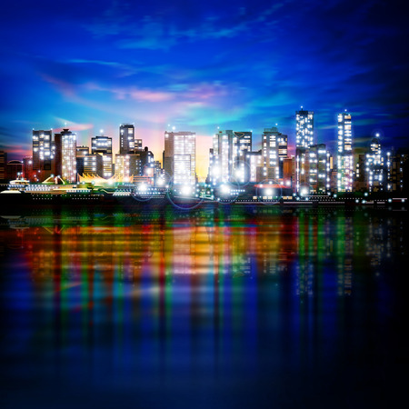 horizon reflection: abstract blue sky background with panorama of illuminated city by night Illustration