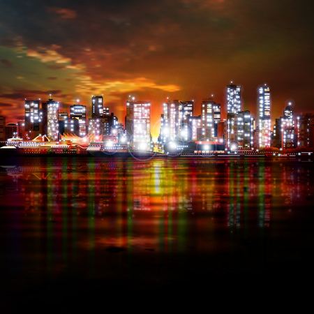 vancouver city: abstract dark sky background with panorama of illuminated city by night Illustration