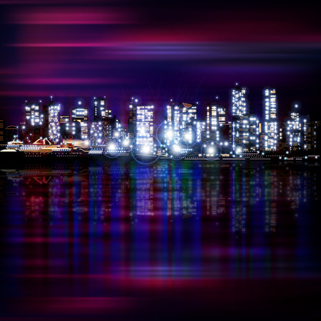vancouver city: abstract panoramic purple background with night illumination of city Illustration