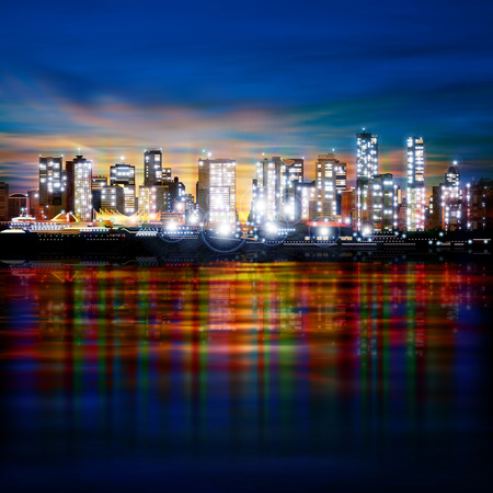 vancouver city: abstract panoramic evening background with night illumination of city