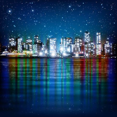 vancouver city: abstract panoramic background with night illumination of city