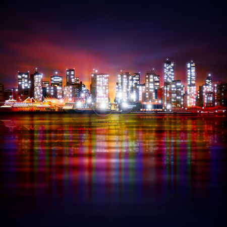 vancouver city: abstract pink background with panorama of illuminated city by night