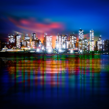 horizon reflection: abstract blue background with panorama of illuminated city by night