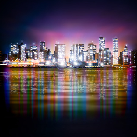 vancouver city: abstract purple sky background with panorama of illuminated city by night