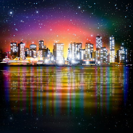 pink sky: abstract pink sky background with panorama of illuminated city by night