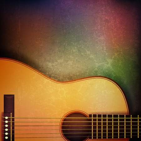 troubadour: abstract grunge music background with acoustic guitar on brown vector illustration