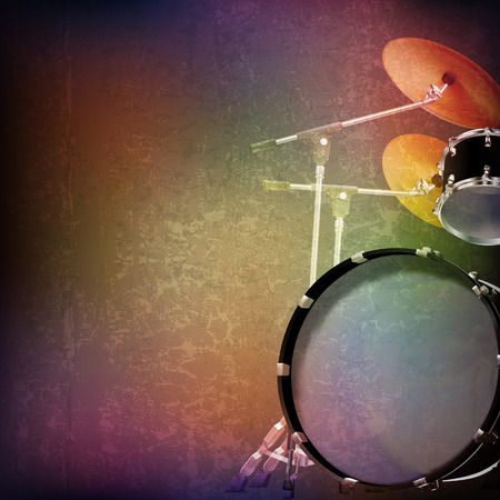 abstract grunge music background with drum kit on brown vector illustration Illustration