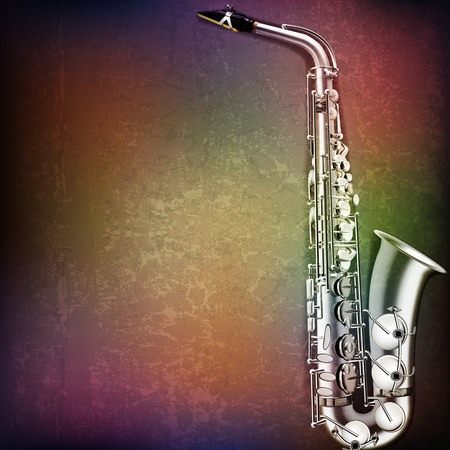 abstract grunge music background with saxophone on brown vector illustration