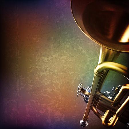 abstrait musique grunge avec trompette sur le brun illustration vectorielle