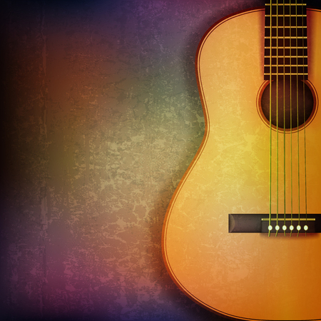 troubadour: abstract grunge music background with acoustic guitar vector illustration Illustration