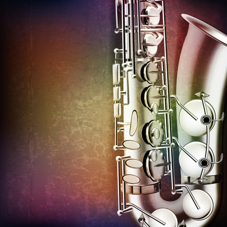 blare: abstract grunge music background with saxophone vector illustration Illustration