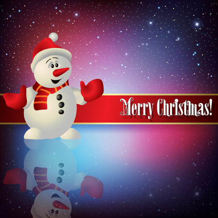 snowman background: celebration greeting with snowman and snowflakes on blue red background Illustration