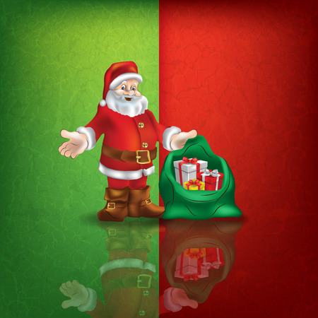 celebration background: celebration greeting with Santa Claus on green red vector background