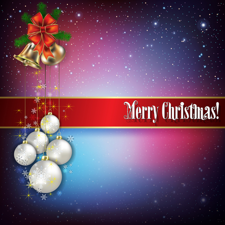 hand bells: Christmas greeting with hand bells and snowflakes on blue red background