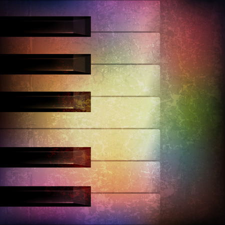 abstract grunge music background with piano on brown vector illustration Illustration