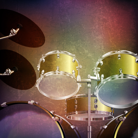 loudly: abstract grunge music background with drum kit on brown vector illustration Illustration