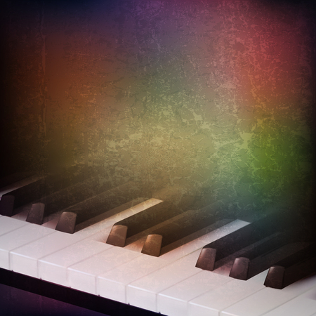 abstract grunge music background with piano keys on brown vector illustration