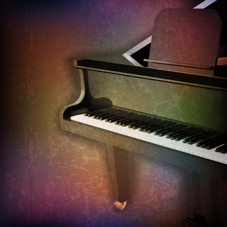 abstract grunge music background with grand piano on brown vector illustration Illustration