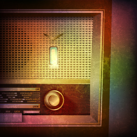 abstract grunge music background with retro radio on brown vector illustration
